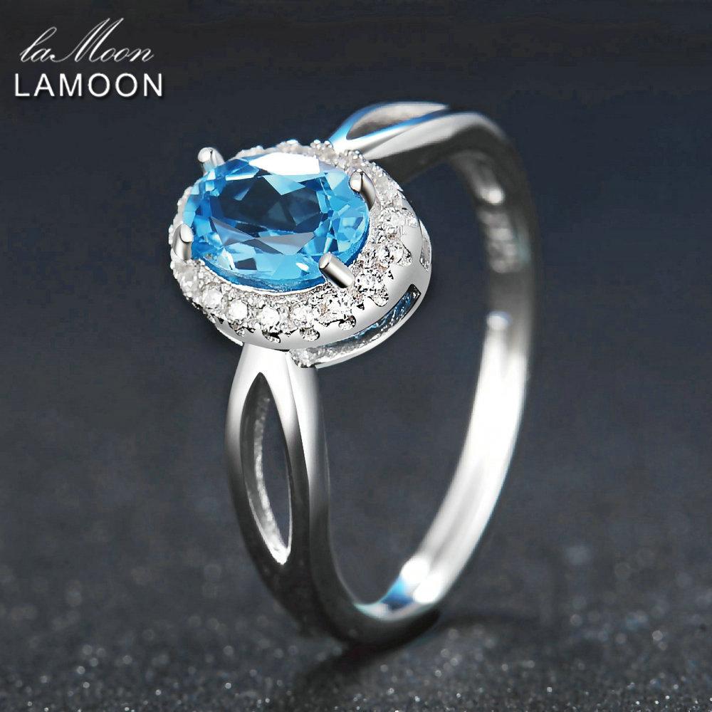 Lamoon Classic 5x7mm 100% Natural Oval Blue Topaz 925 Sterling Silver Jewelry Platinum Wedding Ring S925 LMRI030