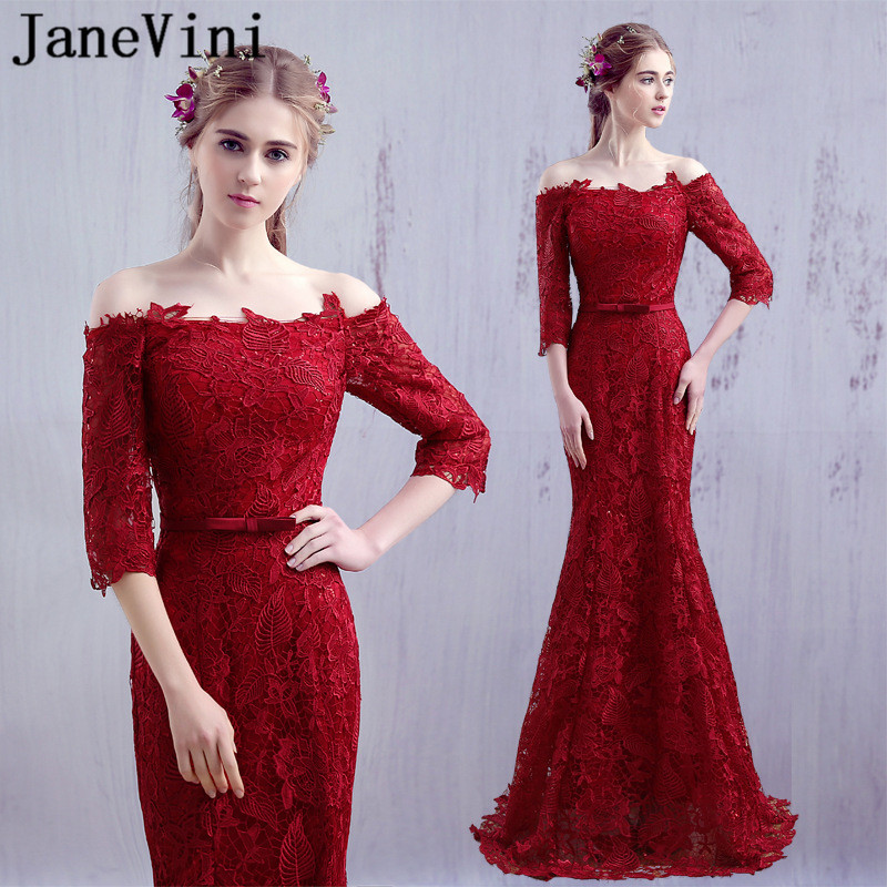 JaneVini Burgundy Half Sleeve Lace Sequin   Bridesmaid     Dresses   Girl Ladies   Dresses   For Wedding Party Long Mermaid Prom Formal Wear