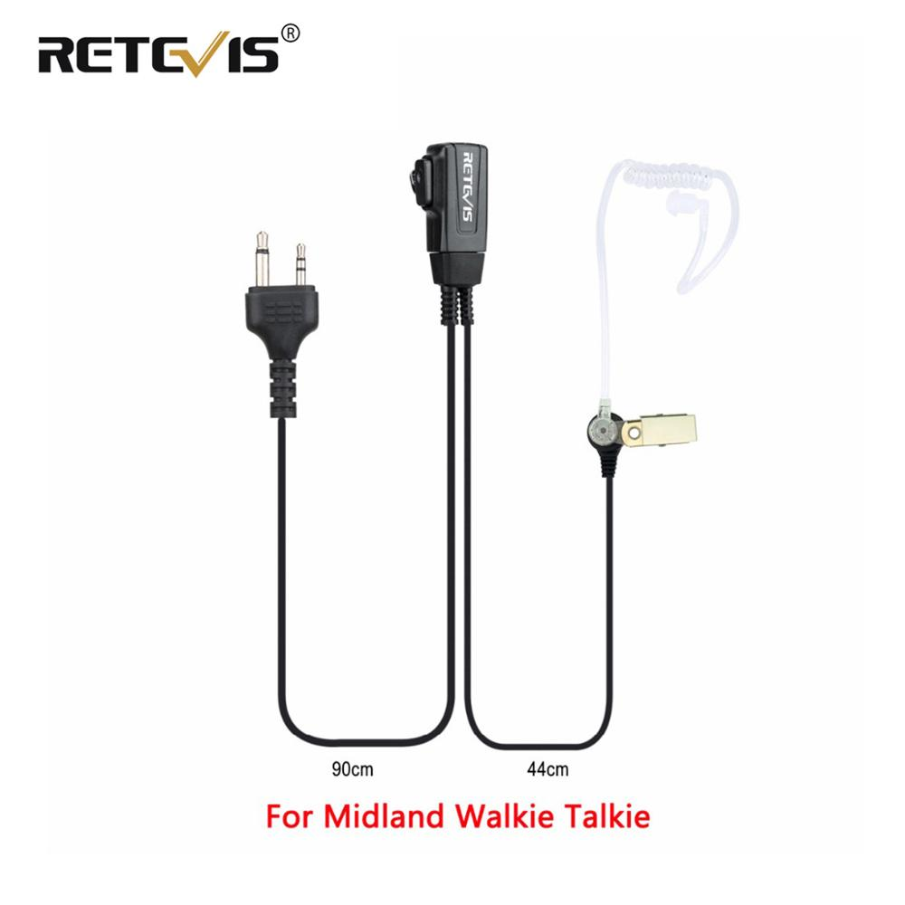 Retevis 2Pin Covert Acoustic Tube Earpiece PTT Microphone Headset For MIDLAND G6/G7/G8 GXT 450/650 LXT80/112 Walkie Talkie