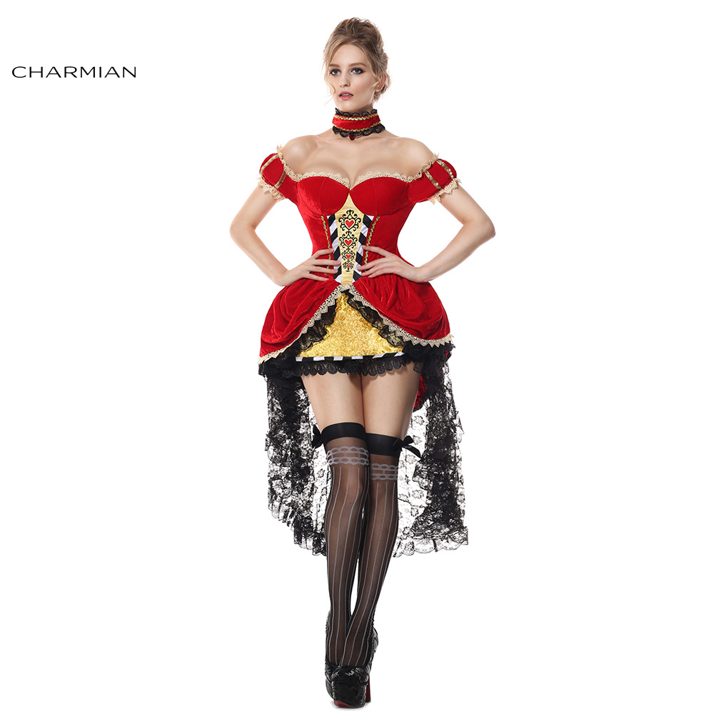 Charmian New Queen Costume for Women Sexy Off Shoulder Queen Of Hearts Anime Cosplay Halloween Costume Fantasias Costumes