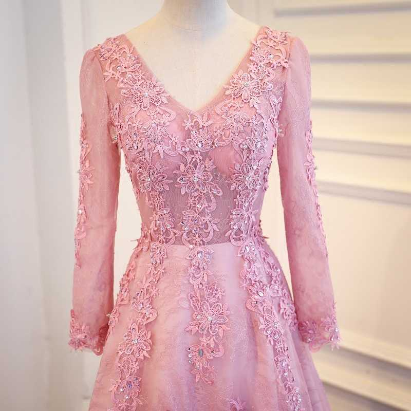 dcf0809bcd Pink Long Sleeve Lace Evening Dresses Long Party Beaded Women Unique Formal  Evening Gowns Dresses on Sale robe de soiree