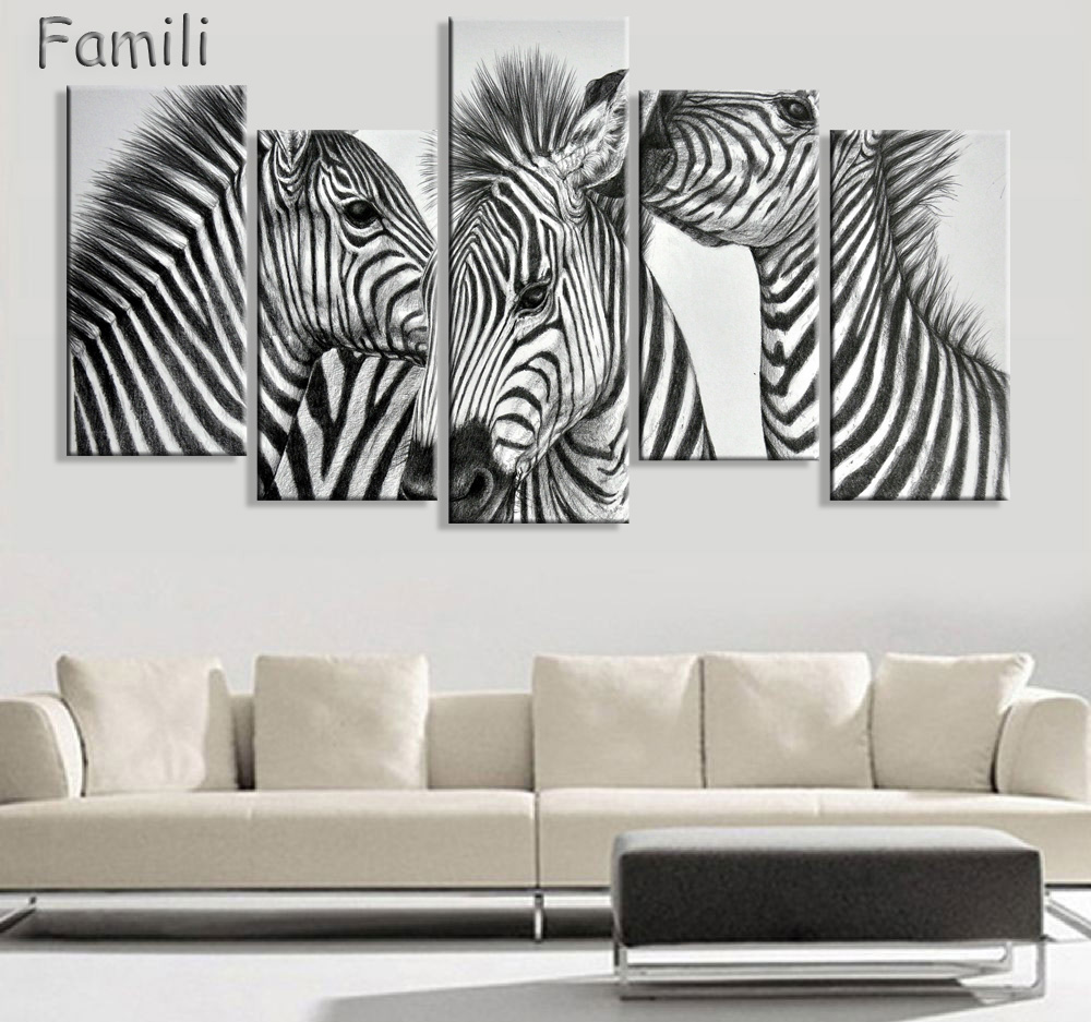 5 Panels Modern Zebra Painting Canvas Wall Art Picture Wall Pictures ...