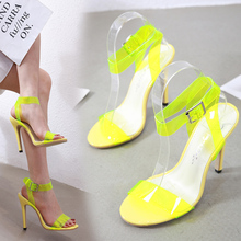 Liren 2019 Summer Fashion Candy Colors Casual Sexy Party Lady Sandals Transparent PVC Buckle High Heels Pointed Open Toe