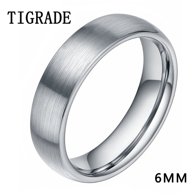 Tigrade 6mm Brushed Simple Silver Titanium Ring Men High Polished