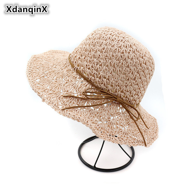 4b678e07cb649 XdanqinX Foldable Summer Women s Hat Handmade Crochet Straw Hat Sun Hats  For Women Bowknot Hollow Laces Decoration Beach Cap