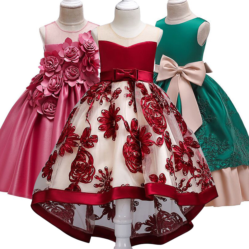 Children's clothing   Flower     Girl     Dress   2-10 Years kids Princess Party   dresses   baby   girl   clothes elegant sleeveless Wedding   Dress