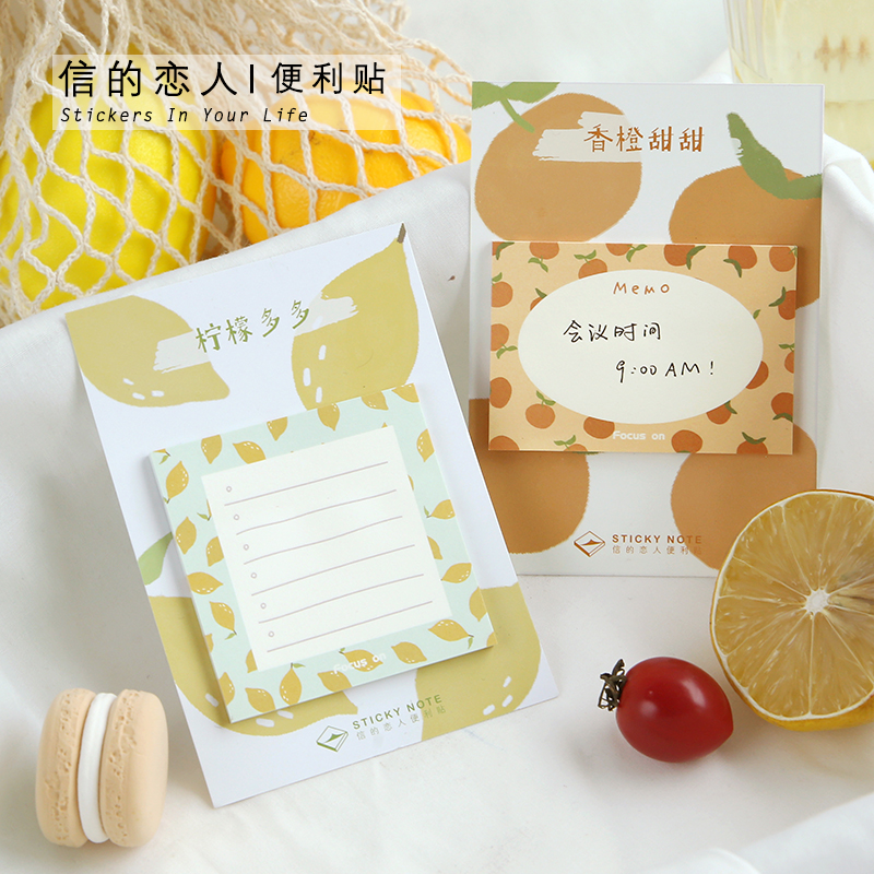 30 Sheets/pad Cute Strawberry Orange Sticky Notes Kawaii Fruits Planner Memo Pad Flake Sticker Offce Supplies Stationery