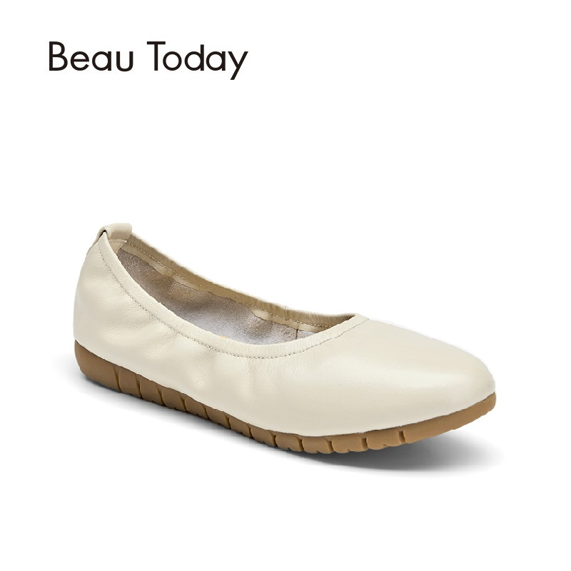 Beau Today Genuine Leather Women Ballet Flats High Quality Nappa Leather Classic Round Toe Casual for Office Nurse Ladies15022