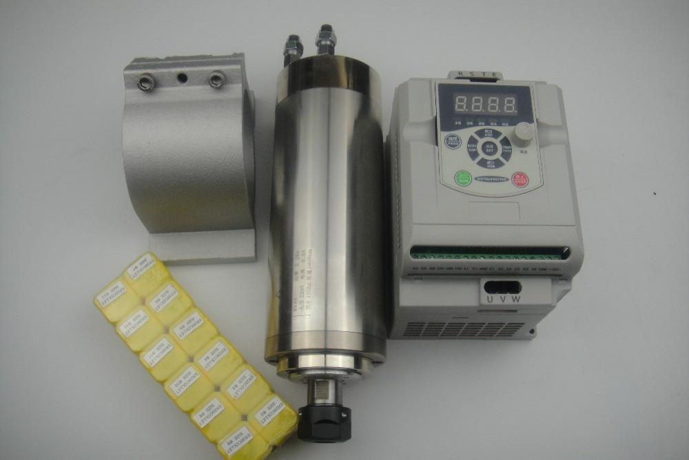 اسپندل فرز CNC ER20 2.2KW اسپیندل خنک کننده آب + پشتیبانی دوک نخ ریسی 1 قطعه +12 قطعه کلکسیون ER20 + 1 اینورتر 2.2KW