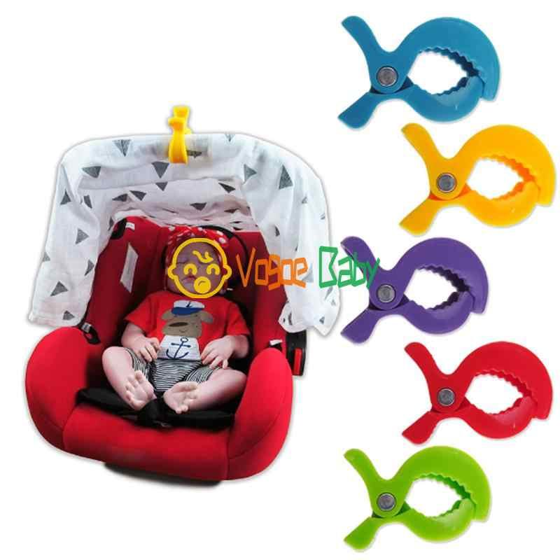 สีสันที่นั่งเด็กทารกใหม่อุปกรณ์เสริมโคมไฟของเล่นรถเข็นเด็ก Peg Hook ผ้าห่มคลิป 1 pcs