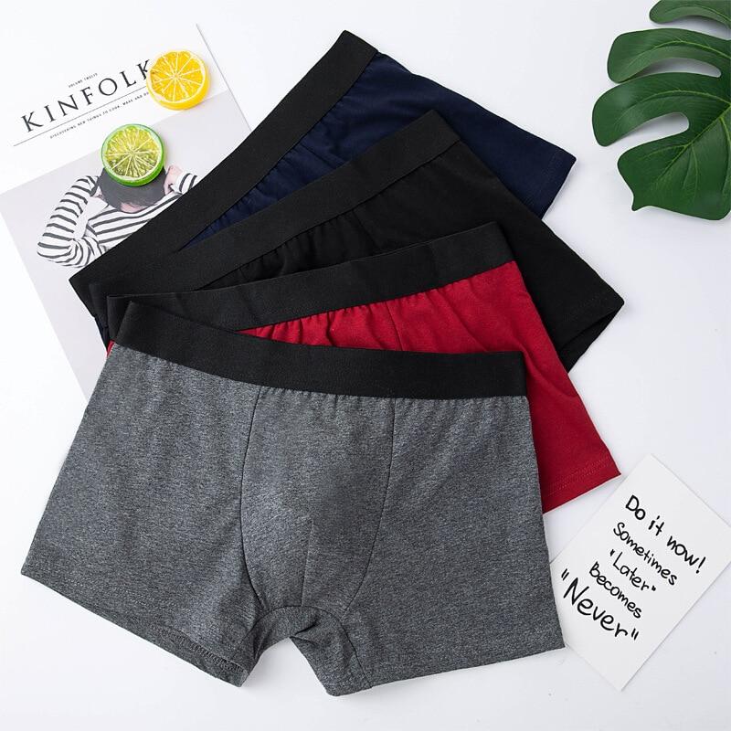 Men's Underwear Solid Color Cotton Underpants Male Casual Boxer Man Shorts Pants Men Big Size Panties 2019