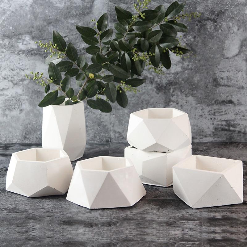 Nicole molde de concreto de silicone geométrico vasos de flores molde de vaso de cimento artesanal multi-flor plantador decoração do jardim ferramenta