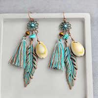 New Jewelry Earrings Blue Tassel Flower Feather Shell Pendant Application Earrings Bohemian Decorations Boho Chic For Women