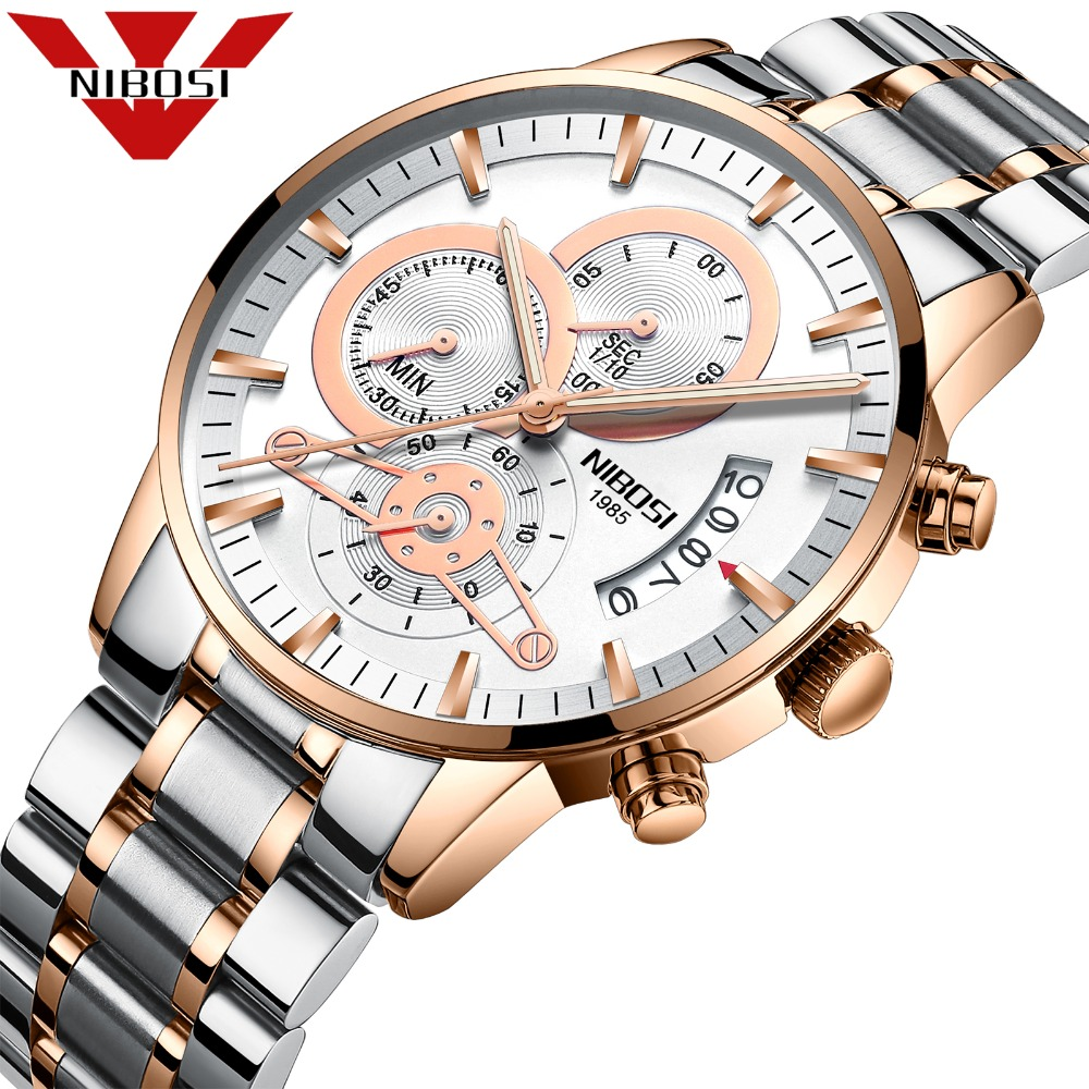 NIBOSI Quartz Mechanical Chronograph Watch 3ATM Waterproof Automatic luxury Watches Steel Wrist Wristwatch And Fashion Clock цены онлайн