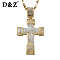 D&Z Gold Color Iced Out Micro Pave Rhinestone Bling Cross Pendant Necklaces Stainless Steel Crucifix Necklace for Men Jewelry