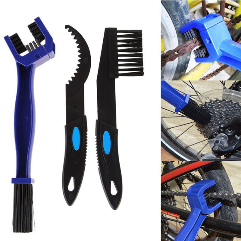 3pcs Bike Bicycle Chain Cleaning Brush Set  Motorcycle  Bicycle Chain Cleaning Gear Scrubber Tools Portable Bike Chain Brush Kit