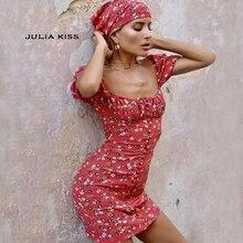 Women Square Neck Floral Print Mini Dress with Scarf Sexy Floral Print Red Dress with Lantern Sleeve