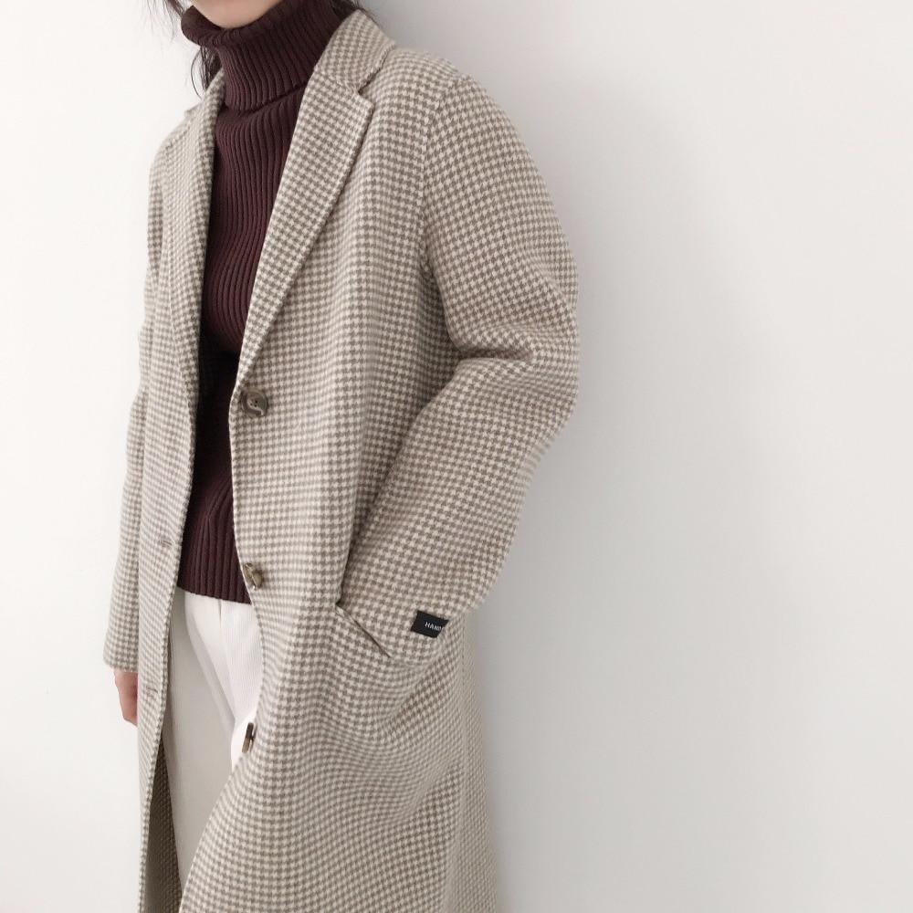 Plaid Woolen Coat Women Winter Wool Blend Overcoat 2018 New Ladies Harajuku Lapel Long Jacket Vintage Mujer Pocket Cape PJ196