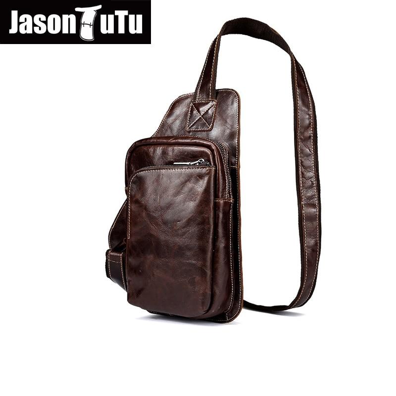 ad19a52e6a26 Джейсон пачка Марка Дизайн Натуральная кожа Сумка нагрудная сумка мужские  сумки через плечо винтажные сумки на плечо акция ранцы HN88