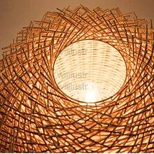 Wicker pendant lamp handmade suspension light bird nest shape hanging lighting bar hotel restaurant mall lounge porch