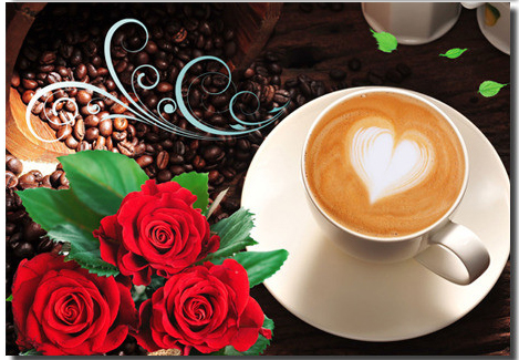 efbfef8a9ed84 الماس اللوحة عبر غرزة الماس التطريز ارتفع فنجان القهوة الحنين فسيفساء  الراتنج الحفر الكامل ديكور المنزل اللوحة