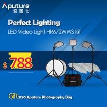 Aputure fotografía luz de vídeo HR672 alta CRI95 + luz de vídeo Led Panel HR672WWS Kit juego de luces de estudio 3 Kit de la luz