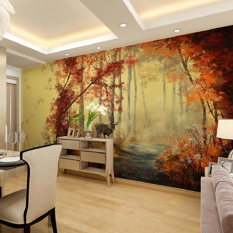 Home decor living room bedroom wall papers 3d nature - Living room wall painting designs ...