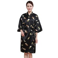 Salon Client Gown Robe Feather Pattern Black Smock Kimono Hairdressing Cape Dress Beauty SPA Hotel Barber Guest Cloth Gown