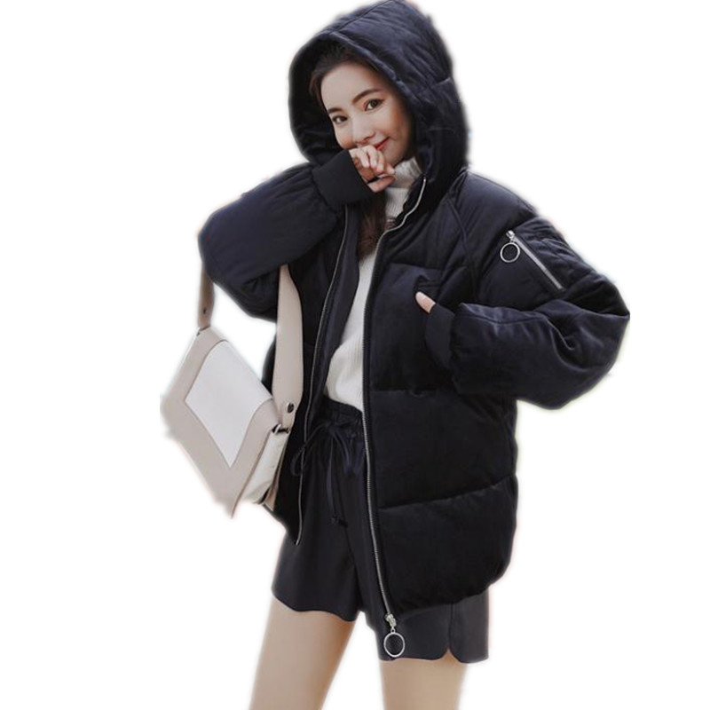 Top Fashion New Pleuche Winter Women Short   Parkas   2018 Hooded Down Cotton Jacket Women Winter Coats Plus Size 3XL Padded CQ2264