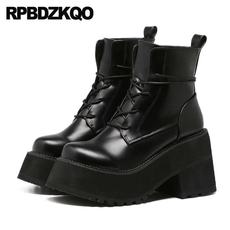 e27dc25d83e High Heel Fall Gothic Chunky European Lace Up Ankle Punk Rock Boots  Waterproof Harajuku 2019 Platform Shoes Black Japanese Women