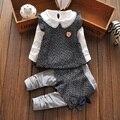 Nova Outono Bebê Roupas de Menina Definir Recém-nascidos Bebes Bebek Giyim T-shirt + Colete + Calça 3 Pcs Set Crianças Crianças Roupas Infantis Menino