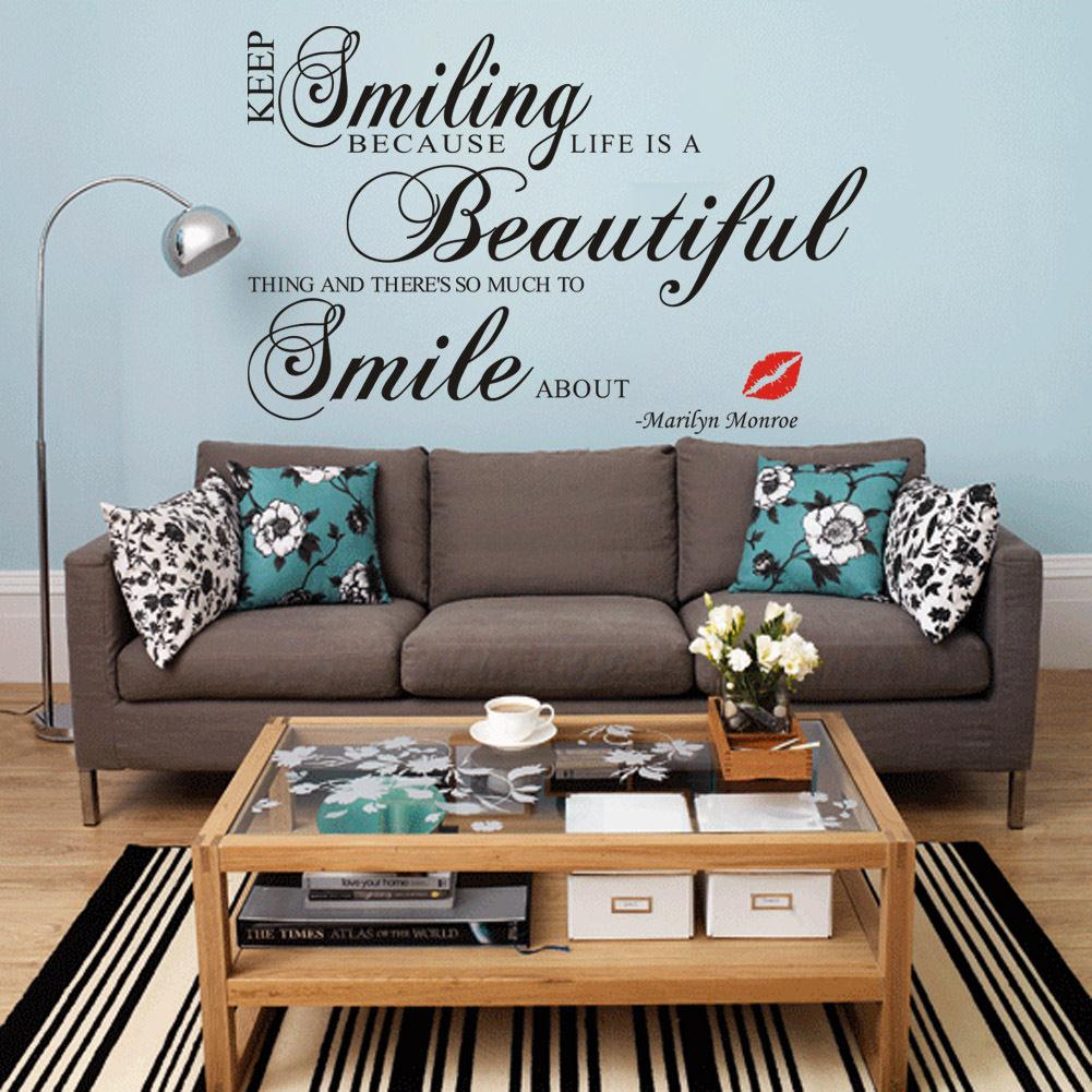Keep Smiling Quotes DIY Marilyn Monroe Lips Wall Stickers Living Room  Bedroom Mural Vinyl Decoration Decal Home Decor Wallpaper In Wall Stickers  From Home ... Part 69