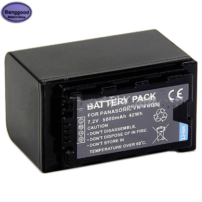 VW-VBD58E-K Batería para Panasonic VW-VBD29 VW-VBD58PPK batería de la Cámara VW-VBD58