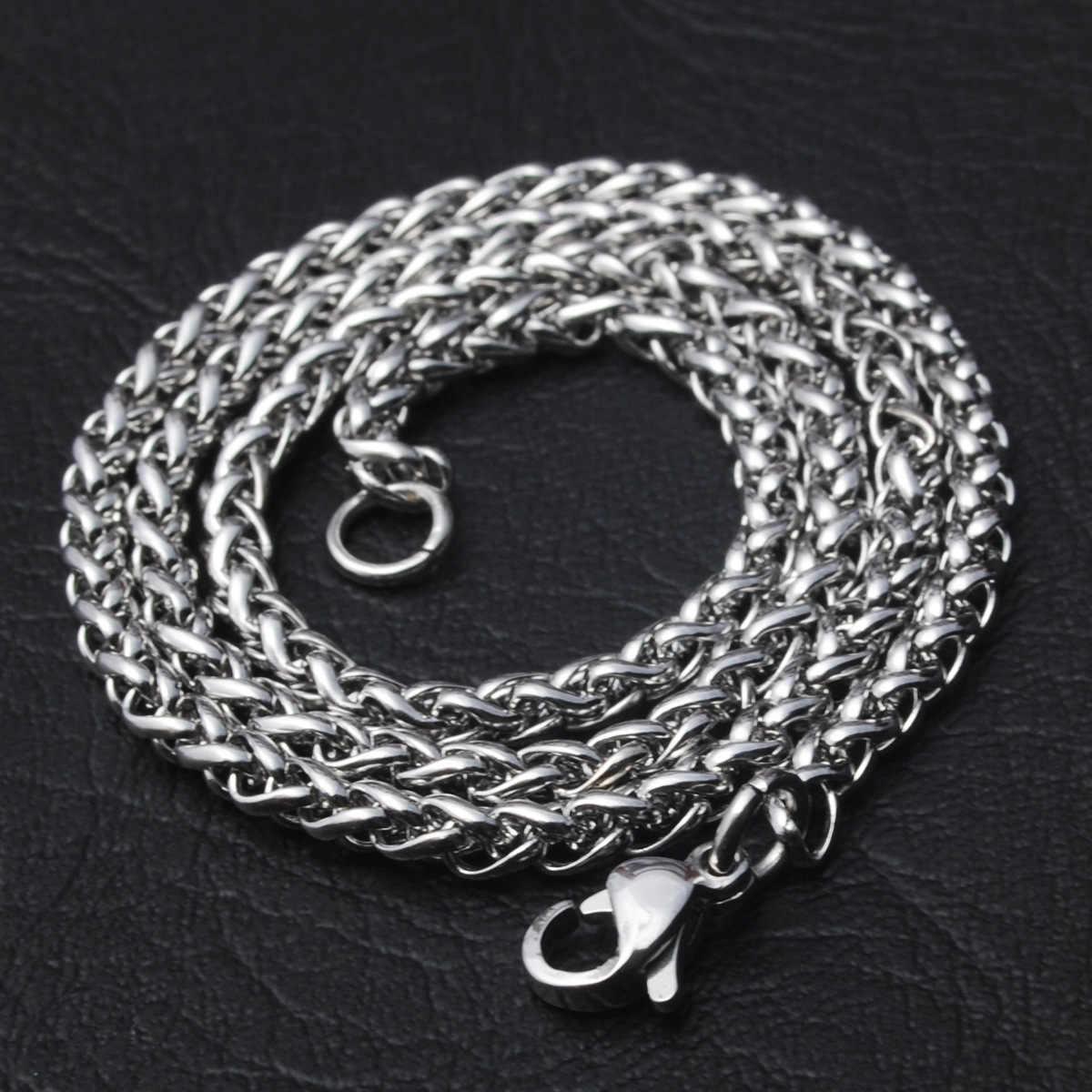 Nowa moda 50/60/70/80cm długość łańcuch ze stali nierdzewnej zapięciem homara proste naszyjnik łańcuszkowy dla mężczyzn party
