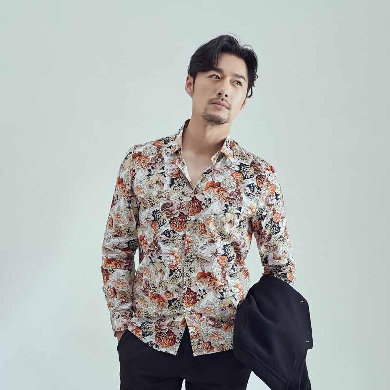 Homem Camisas Casual Clássico Da Moda Roupas de Marca