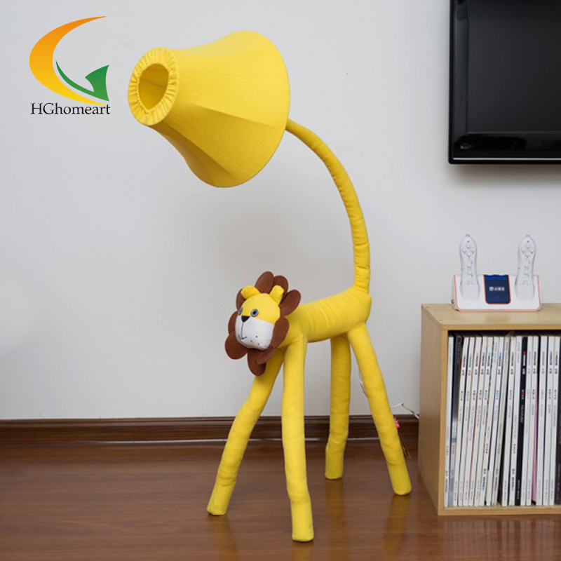 Yellow lion bedroom floor lamp living room lamp cartoon cloth gift home lighting fixtures cartoon lion pattern waterproof bib green yellow