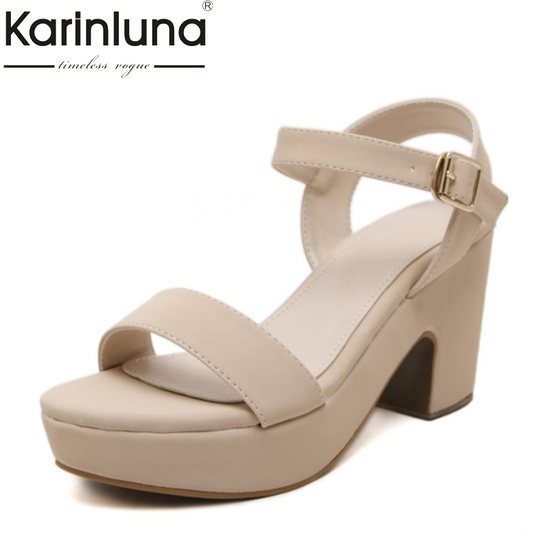 KARINLUNA Size 34-39 Summer Ladies Shoes Chunky Heel Platform Shoes Woman Ankle Strap Buckle Up Open Toe Sandals nis woman boho shoes block heels sandals white gray open toe flats for ladies solid buckle ankle strap sandal low heel flat shoe