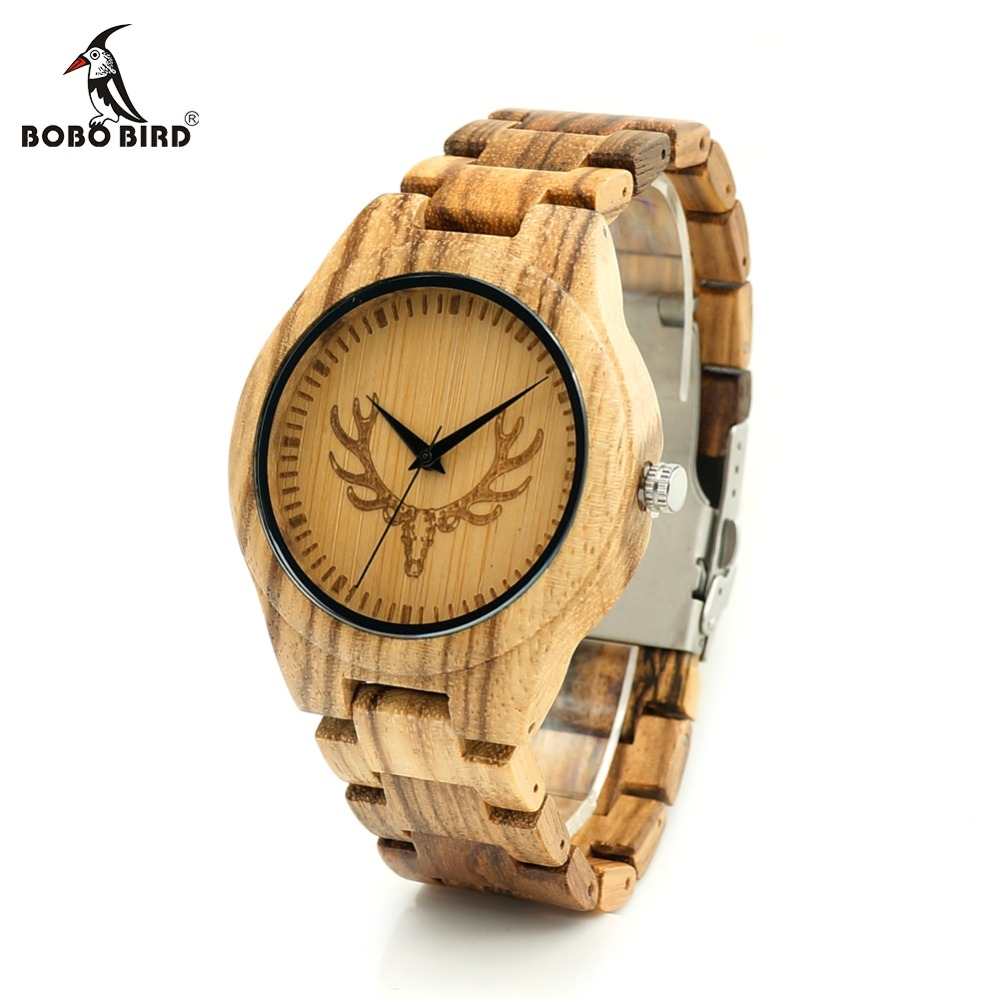 лучшая цена BOBO BIRD L-K29 Deer Head Dial Fashion Zebra Wooden Men-sized Hour Quartz Watches for Men with Gift Box