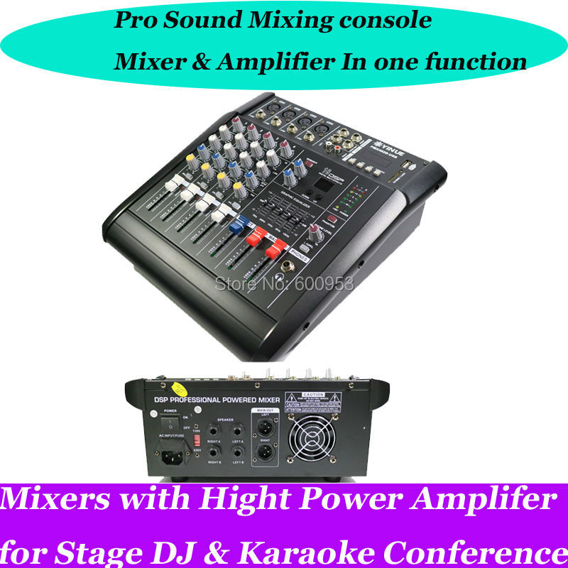 Pro 4 Channel Live Studio Audio Mixers Mixer Mixing Console 800W Power Amplifier professional 4 channel live mixing studio audio sound console network anchor portable mixing device vocal effect processor