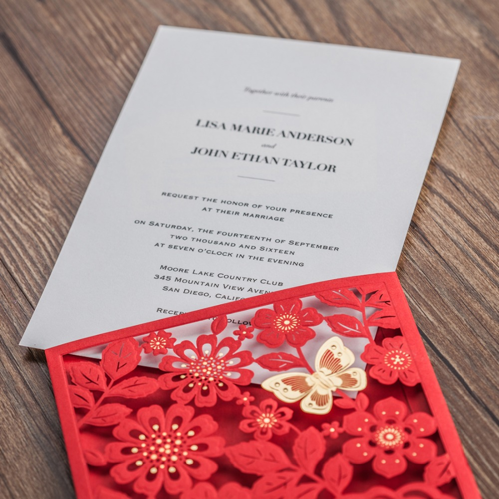 Pop Up Handmade Red Laser Cut Wedding Invitation Card With Gold 3D ...