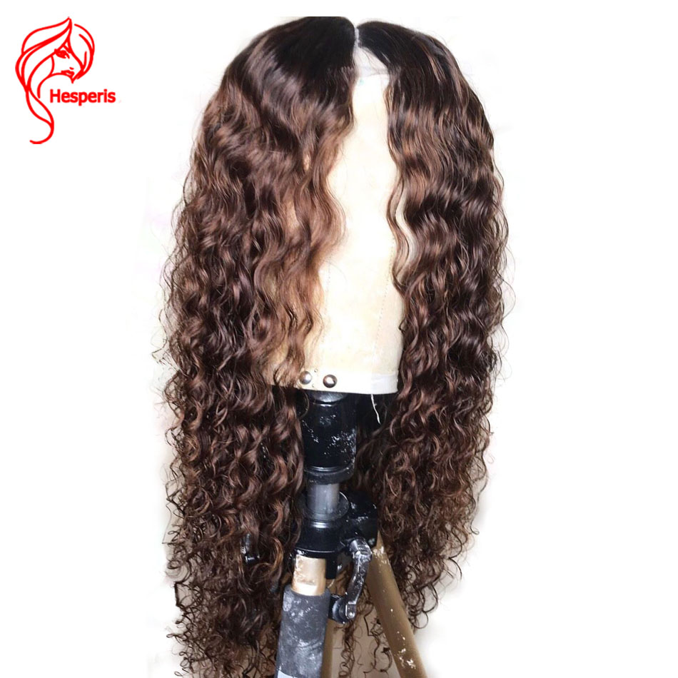 Hesperis Curly Lace Front Wigs For Women Indian Remy Hair Ombre Human Hair Wig Pre Plucked 1b/Brown Ombre Lace Front Wig