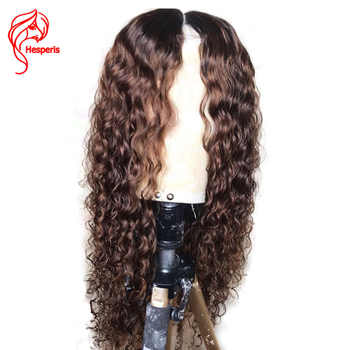 Hesperis Curly Lace Front Wigs For Women Indian Remy Hair Ombre Human Hair Wig Pre Plucked 1b/Brown Ombre Lace Front Wig - Category 🛒 Hair Extensions & Wigs