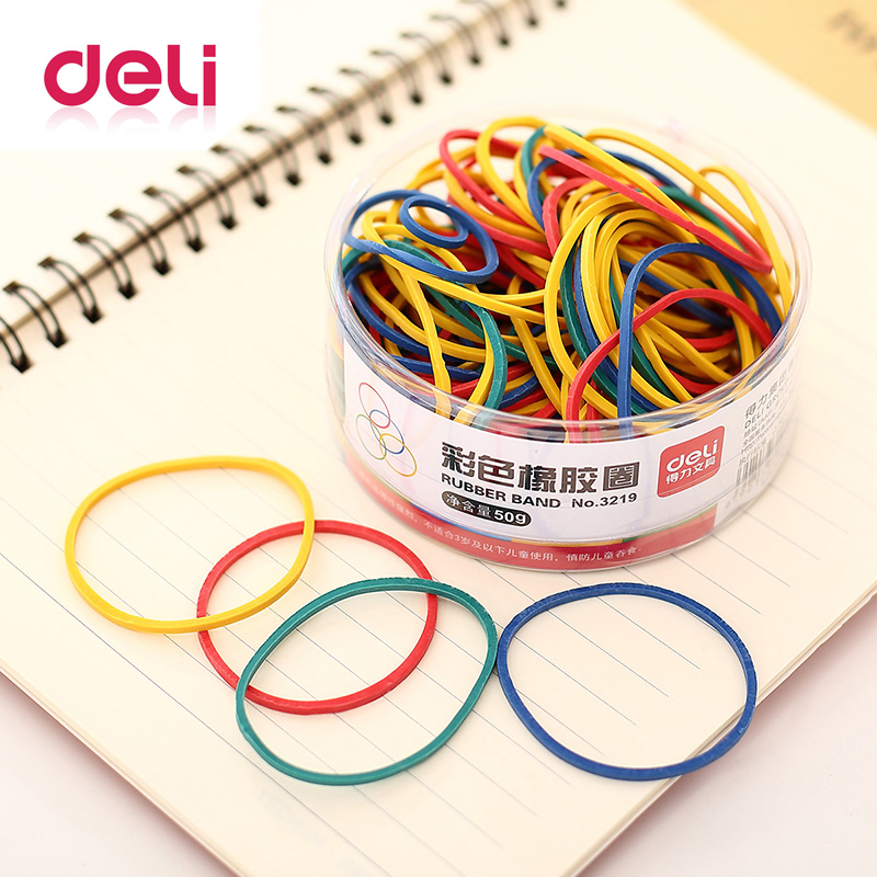 Deli 1 Pack 50g Colored Round Rubber Band Office Circle Rubber Band  Inancial Warehouse School Office Strapping Supplies 3219