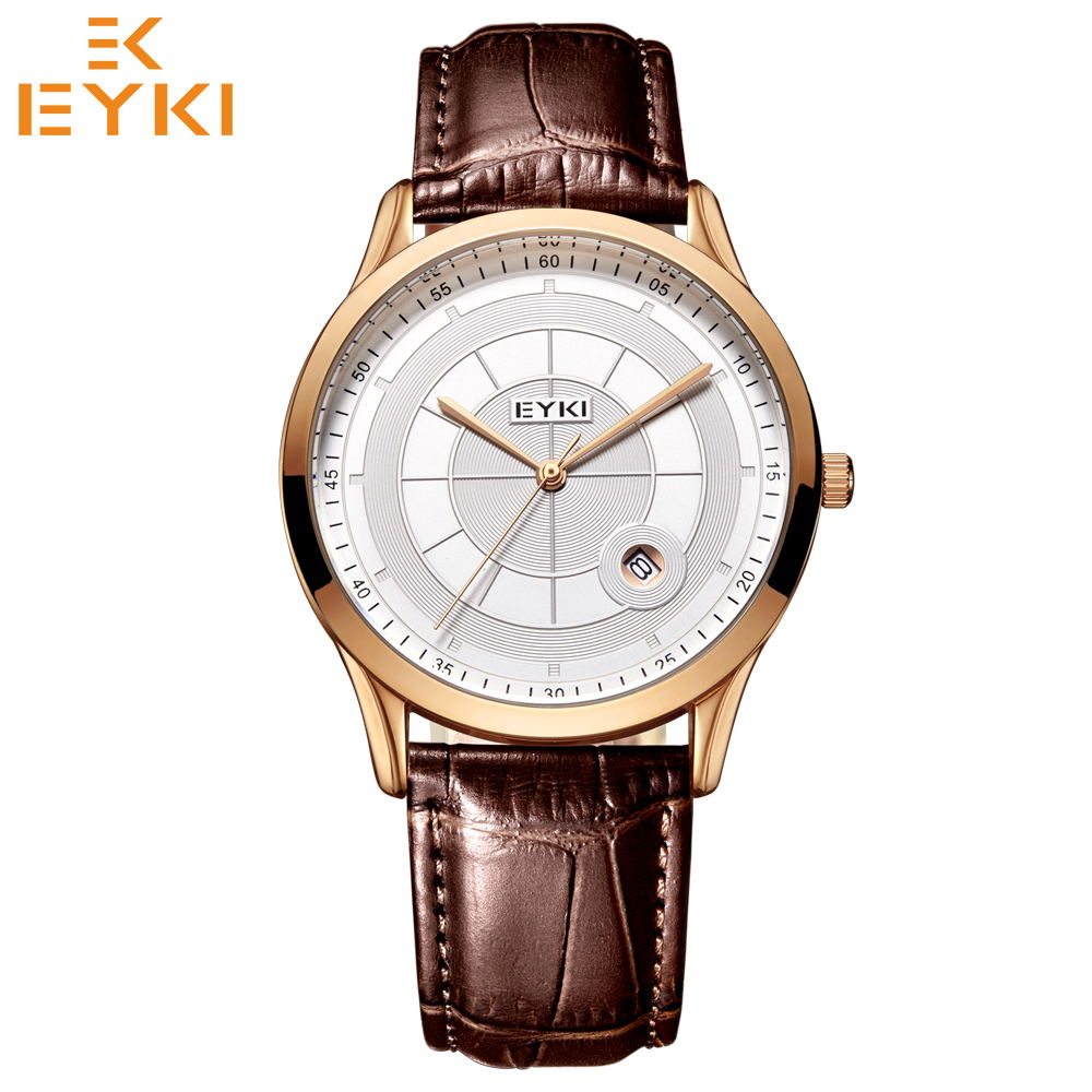 EYKI Luxury Brand Fashion Couple Watches For Men Women Waterproof Leather Strap Relogio Masculino Montres Homme Quarzt Clock