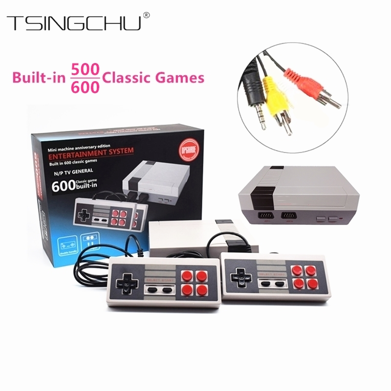 Ретро Классический Семья ТВ Ручные игры Встроенный 500/600 классические игры двойной Игровые мини ТВ игровой консоли pal + NTSC