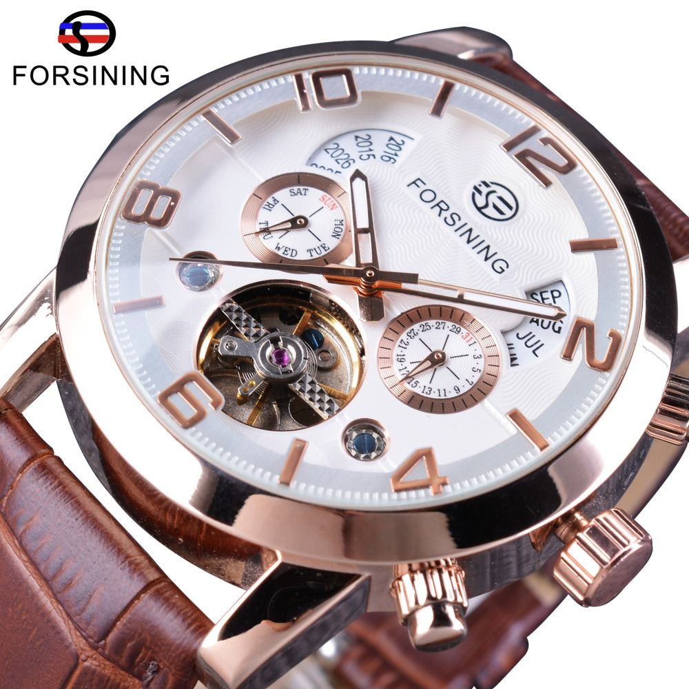 Forsining Brown Genuine Leather Strap Tourbillion Luxury Maltifuction Display Men Business Automatic Watches Top Brand Luxury megir fashion business wrist watches for men tourbillion design top brand luxury auto mechanical watches genuine leather strap