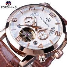 Forsining Brown bracelet en cuir véritable Tourbillion affichage de luxe multifonction hommes daffaires montres automatiques Top marque de luxe