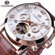 Forsining Bruin Lederen Band Tourbillion Luxe Maltifuction Display Mannen Zakelijke Automatische Horloges Topmerk Luxe