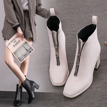 Luxury Classic Women Boots Ankle Leather High-heel Martin Boots Platform Woman Autumn Winter Fashion Square Toe High Quality цены онлайн