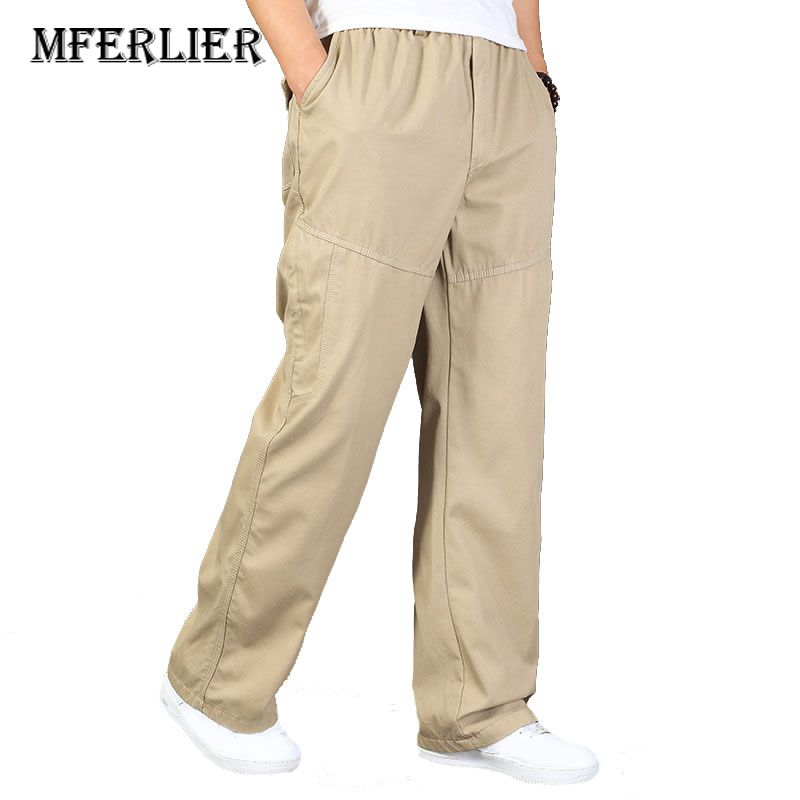 MFERLIER Winter Autumn Men Pants 4XL 5XL 6XL Plus Size Casual Elastic Waist Pants Men 4 Colors